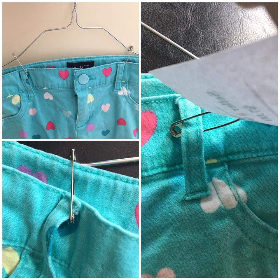 How to attach a tag to pants or skirts