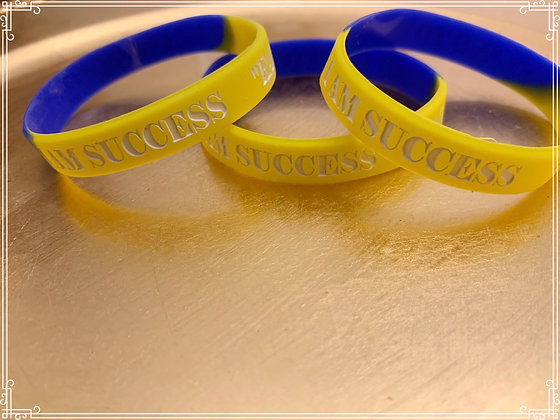 I Am Success Blue and Gold Wristbands