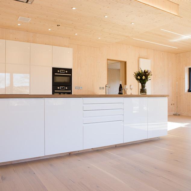 Kitchen - Visible A Grade CLT & Acoustic Ceiling Panels