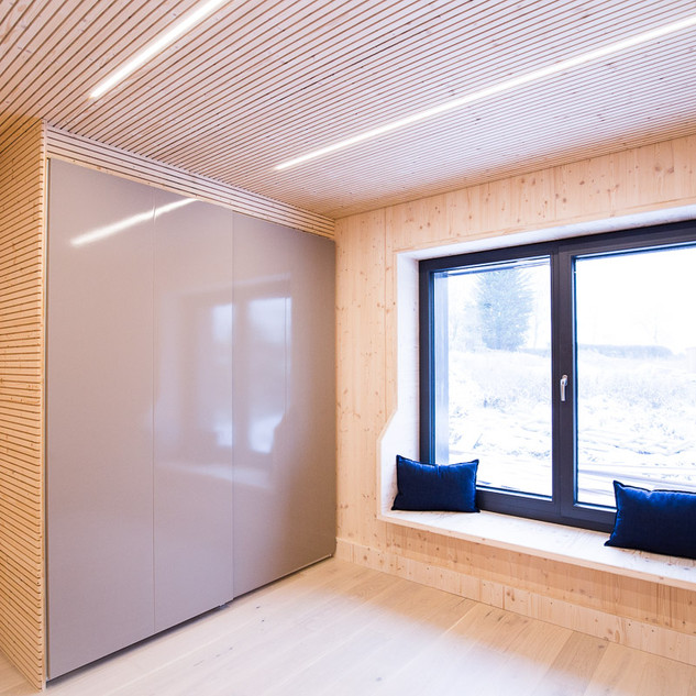 Bedroom - Visible A Grade CLT and Acoustic Ceiling Panels