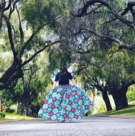 african cotton skirt with pockets