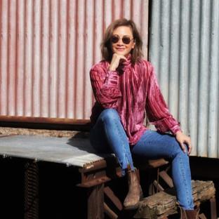velvet high neck blouse
