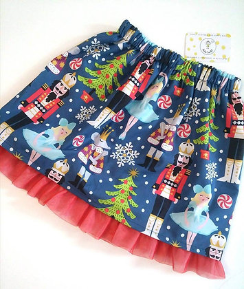 Girls Christmas Print Festive skirt/in different fabric options
