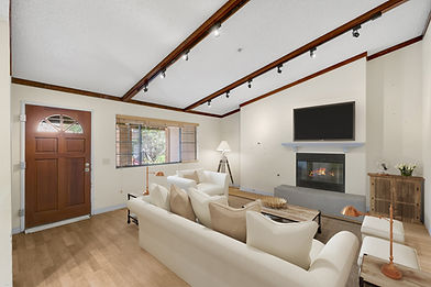 Modern interior of living room with fireplace