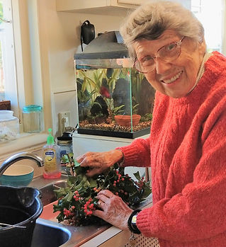 Ruth 11-2019 washing holly for a wreath