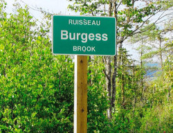The sign for Burgess Brook (formerly Negro Brook)