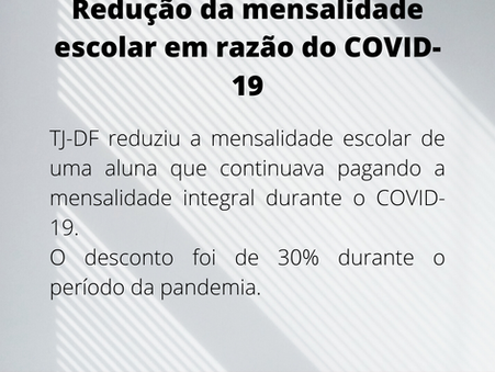 Mensalidade escolar e COVID-19