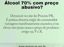 Preço abusivo do álcool 70%