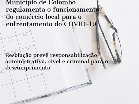 Município de Colombo regulamenta o funcionamento do comércio local para enfrentamento do COVID-19