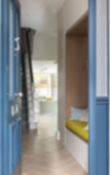 INTO interior design London Fulham interior designer Sybille Garnier Le Mene entrance hallway storage joinery