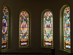 Stained Glass at Top of Stairs
