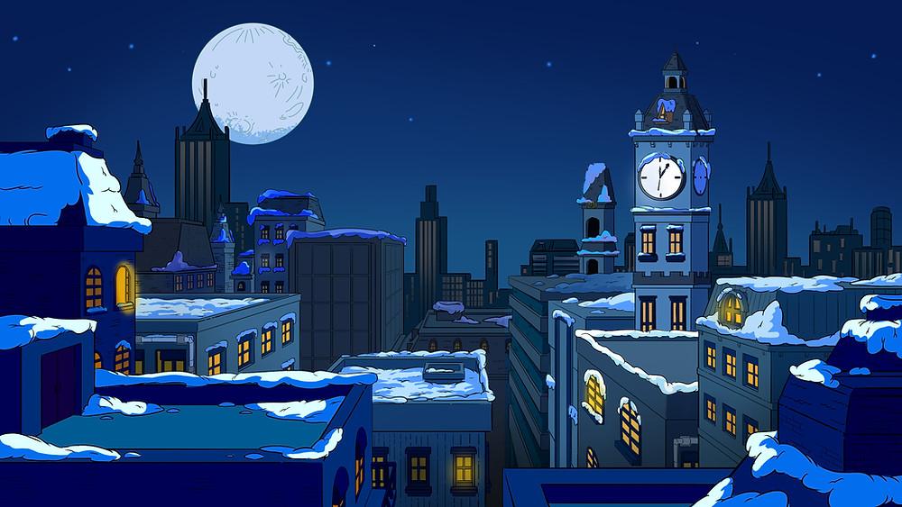 """background đêm giáng sinh trong phim """"Biệt Đội iOn Bạc"""" - DeeDee Animation Studio"""