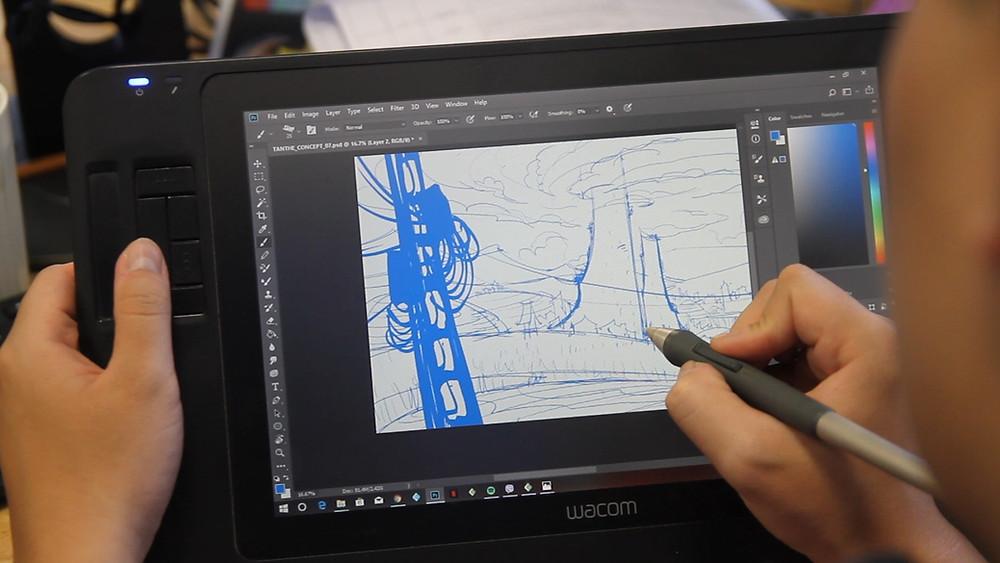 họa sĩ hoạt hình tại DeeDee Animation Studio đang tác nghiệp