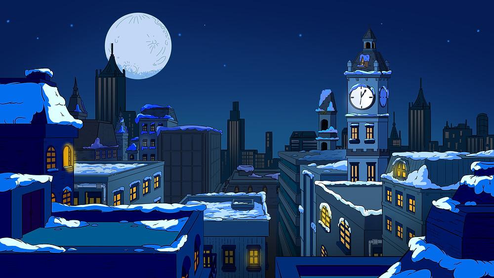 background đêm giáng sinh trong series phim hoạt hình biệt đội ion bạc