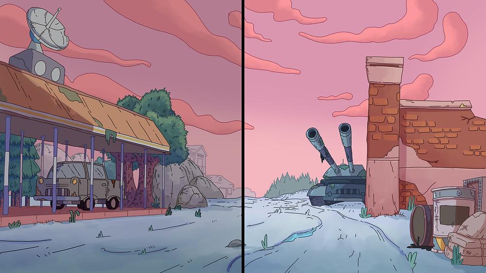 bước thêm hiệu ứng ánh sáng cuối cùng trong quá trình vẽ background phim hoạt hình 2D