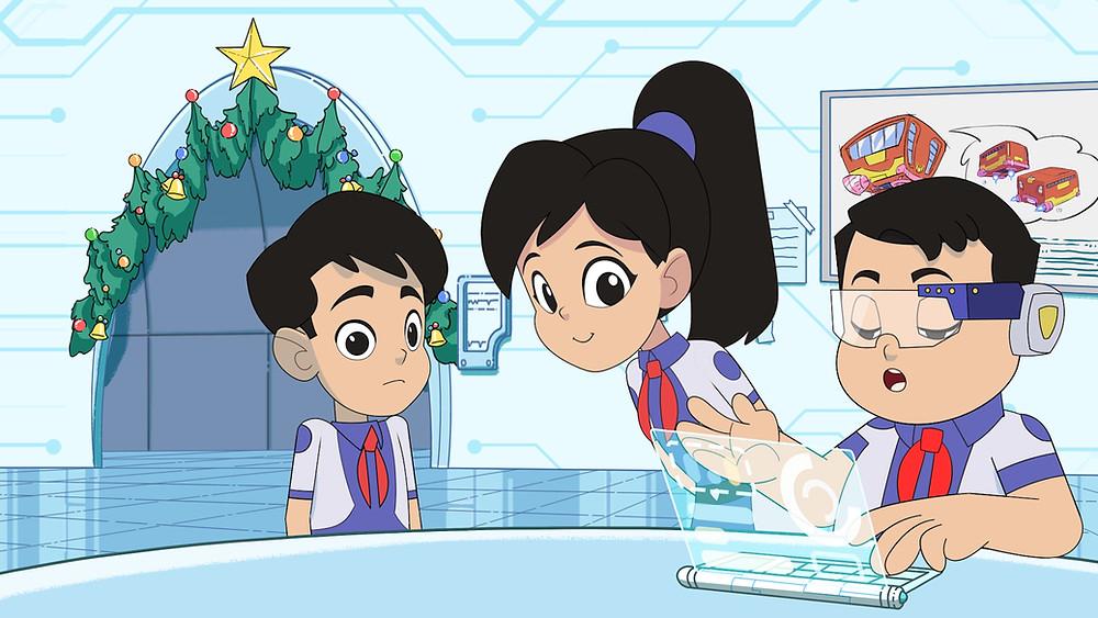 ba bạn nhỏ trong series phim hoạt hình biệt đội ion bạc