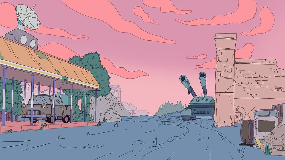 đổ màu phẳng trong quá trình vẽ background phim hoạt hình 2D