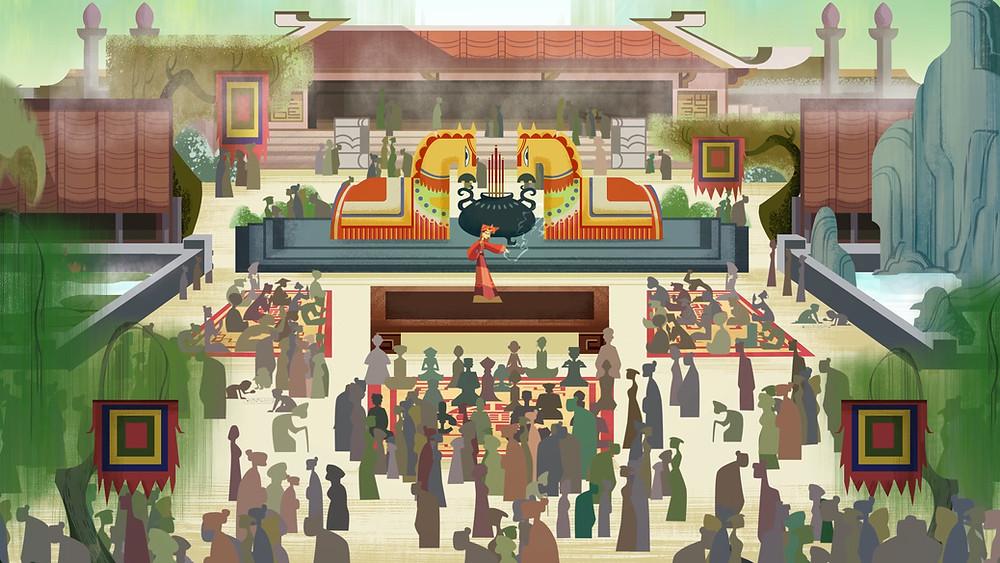 """cảnh lễ hội làng quê trong phim hoạt hình """"Tàn Thể: Tiền Truyện"""""""
