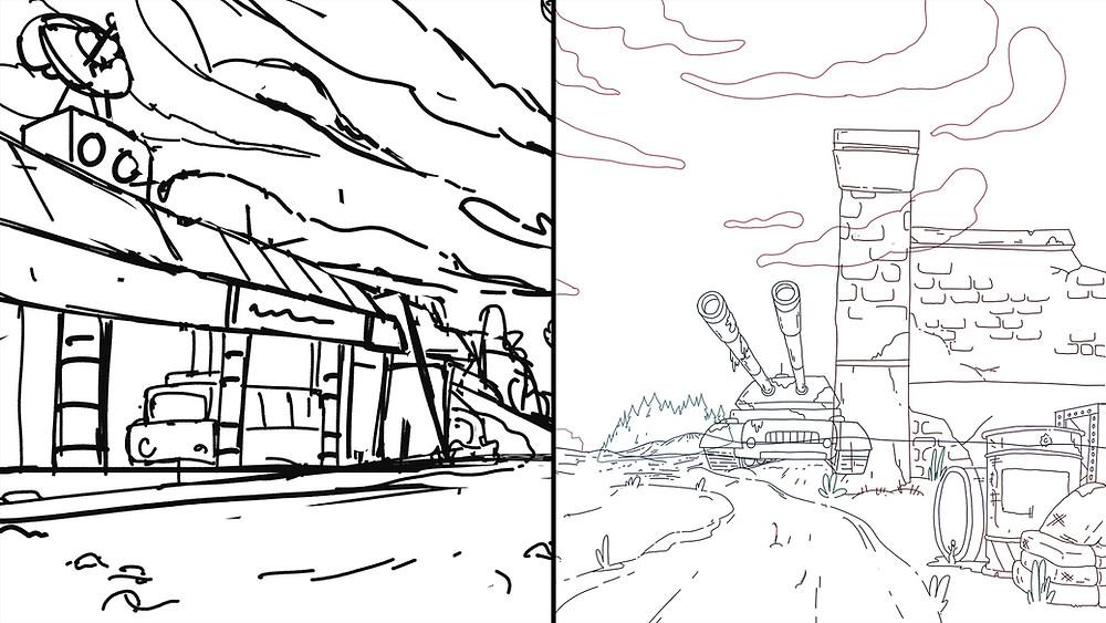 bước đi nét dựa trên phác thảo trong quá trình vẽ background phim hoạt hình 2D
