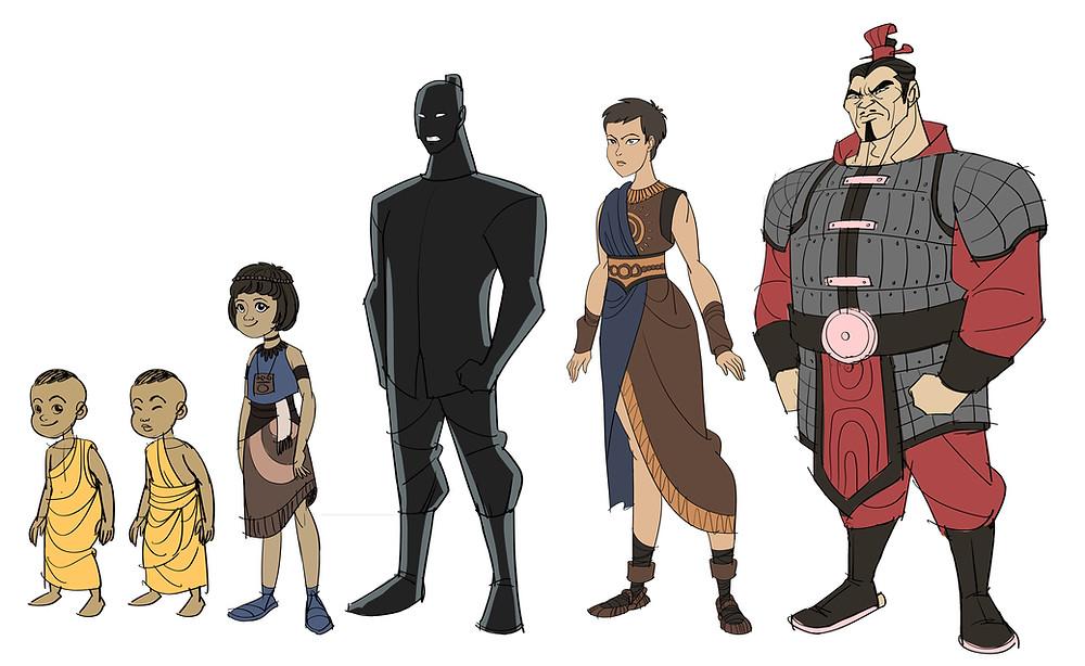 """thiết kế nhân vật trong phim hoạt hình lịch sử """"Bát Nàn"""" (She-Kings)"""