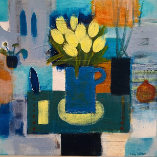 Blue Jug and Yellow Tulips
