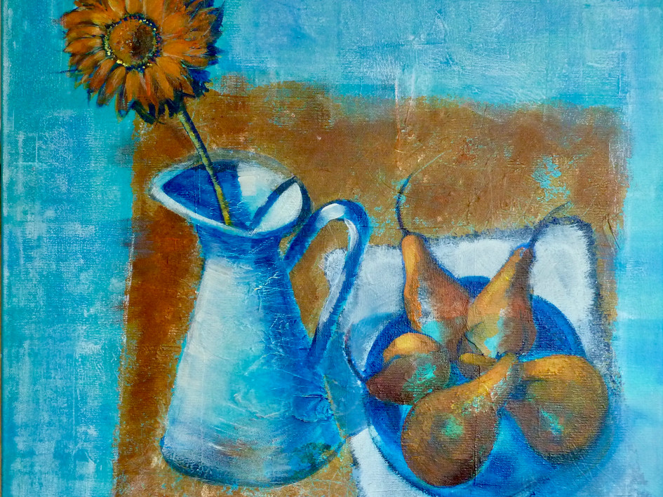 Blue Jug with Pears