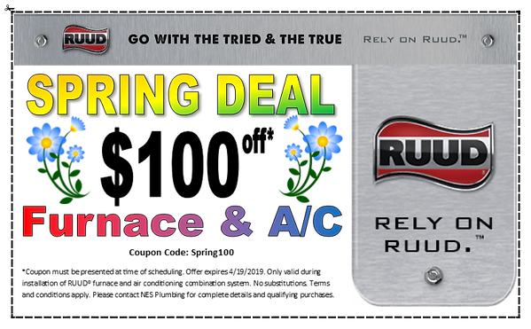 Coupon for $100 off new furnace and A/C