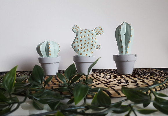 Three cactus statues - Mint green, grey and gold