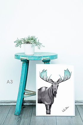 Blue antlered moose - art print