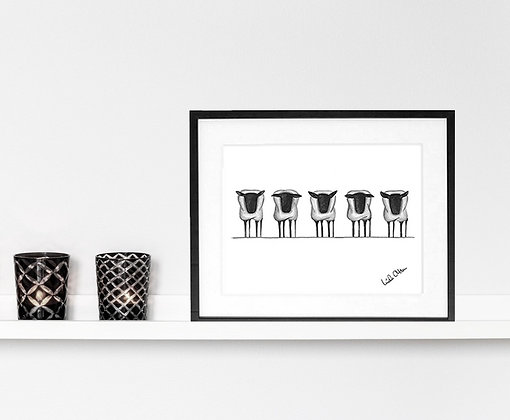 Five grey sheep - art print