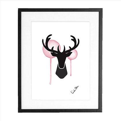 Silhouette, pink - art print