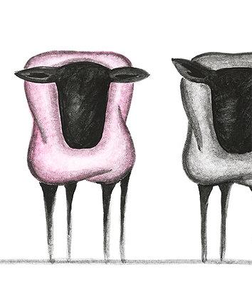 five sheep, one pink - art print
