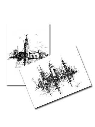 stockholm, two ways - pack of 2 A6 postcards