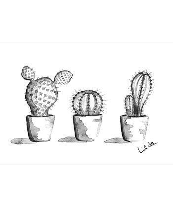 Three cacti - art print