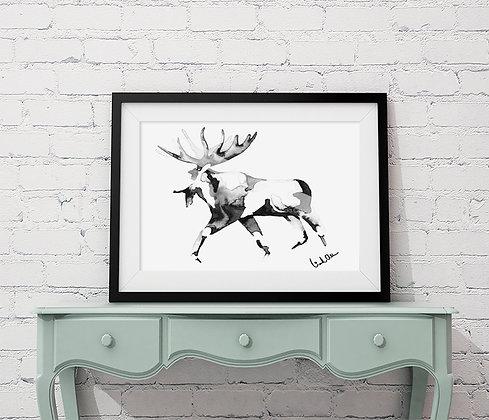 Running moose - art print