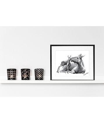 moose mama and calf - art print