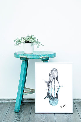 blue mirrored deer - art print