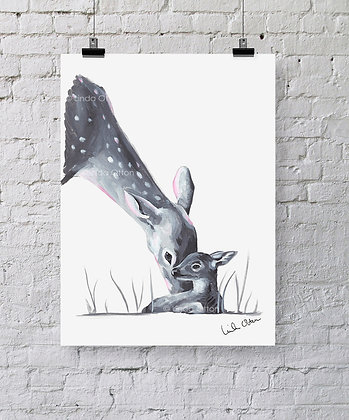 deer mamma and fawn - art print