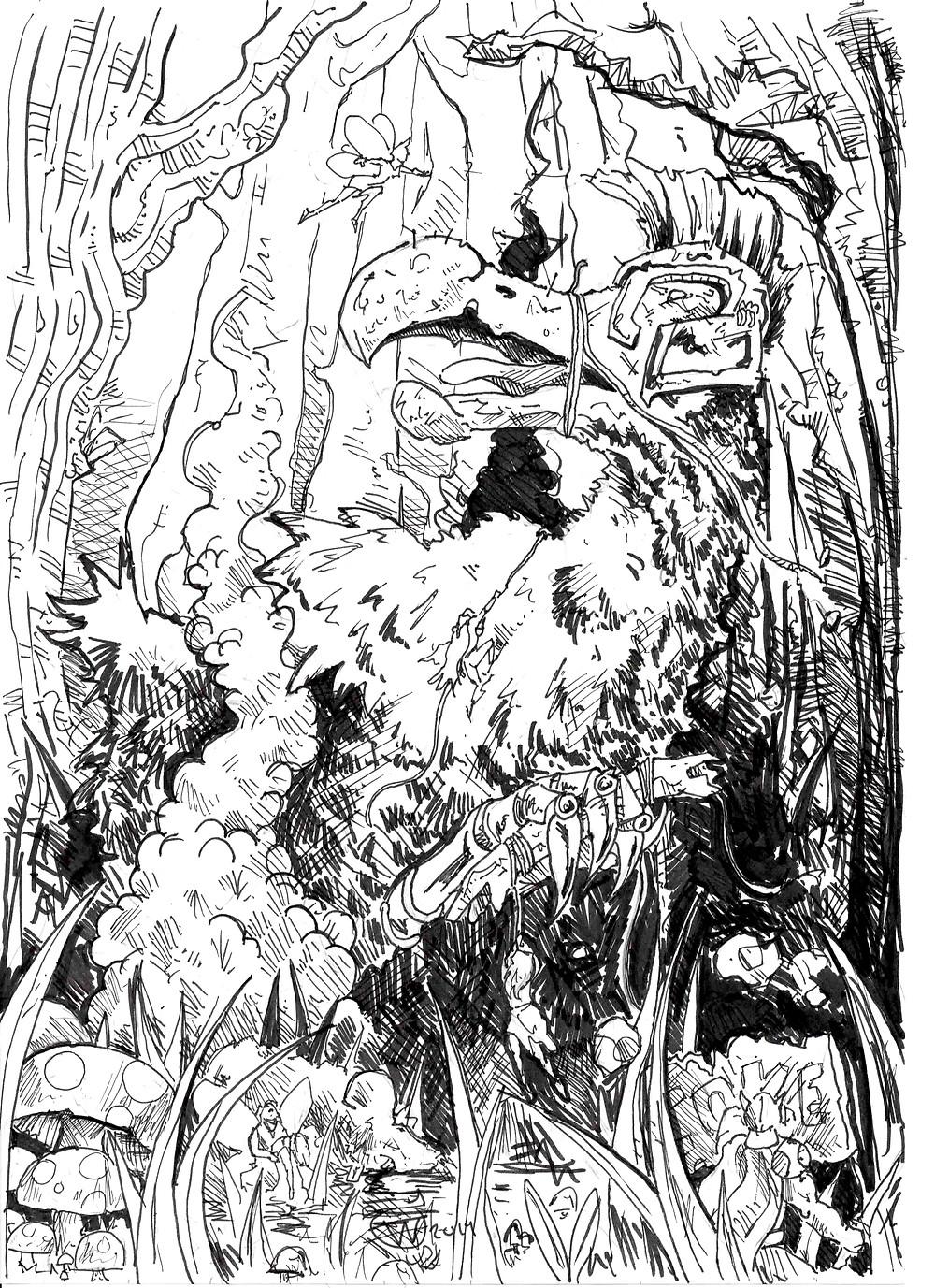 an ink drawing of dodos and fairies at war