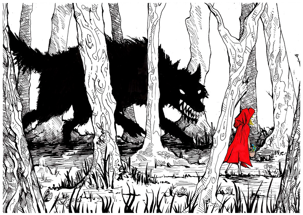 Little red riding hood is stalked by a wolf