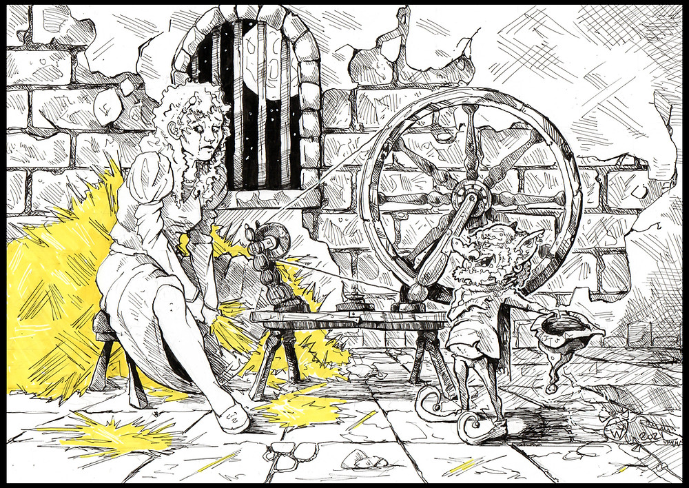 An ink illustration of Rumpelstiltskin making a young lady an offer she can't refuse