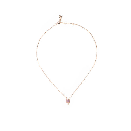 Geometric Cube Cubic Zirconia Pearl Necklace