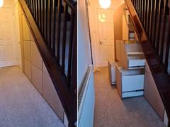 Under Stair Storage Solution in Raw MDF Installed in Edinburgh, Scotland