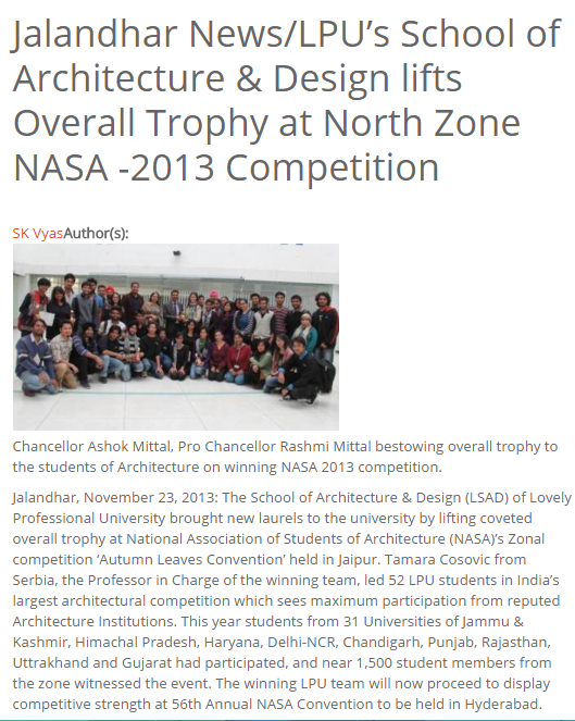 Overall Trophy at Zonal NASA 2013