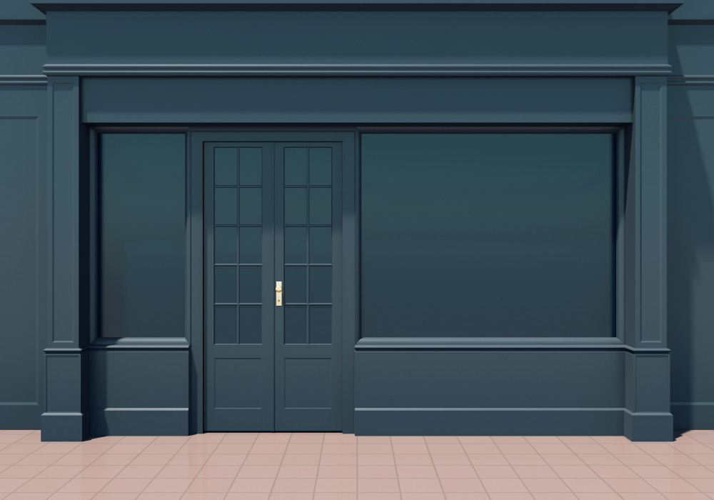 Shop front with blanked out windows