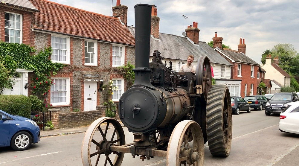 Traction engine in rural English village