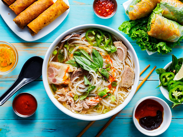 colorful vietnamese pho bo with beef and
