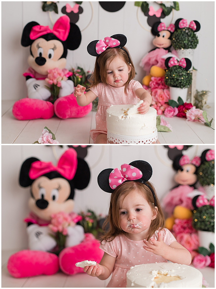 Floral Minnie Mouse Birthday Cake Smash