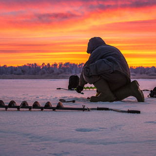 Ice Fisherman - Red Sky
