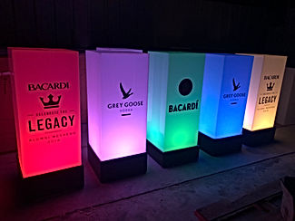 Led tall cubes Bacardi brand multicolor-